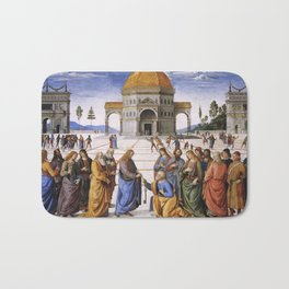 The Delivery of the Keys Painting by Perugino Sistine Chapel Bath Mat
