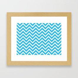 sky blue, white zig zag pattern design Framed Art Print