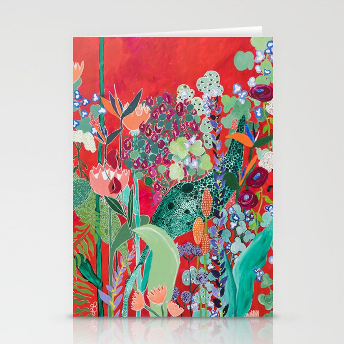Red floral Jungle Garden Botanical featuring Proteas, Reeds, Eucalyptus, Ferns and Birds of Paradise Stationery Cards