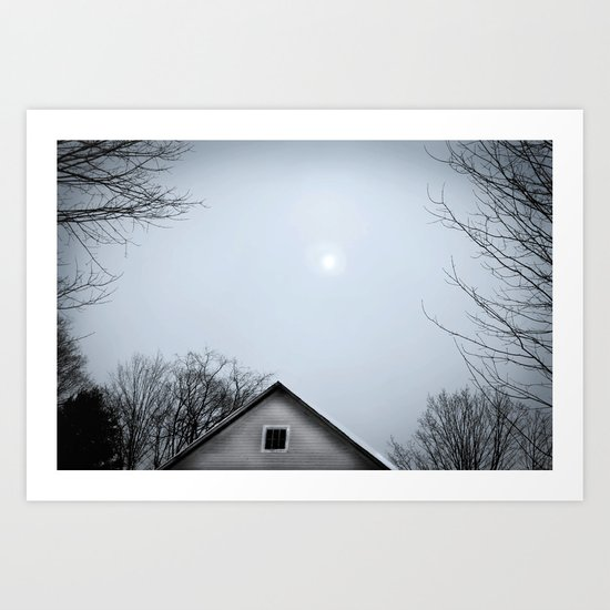 Winter Barn and Snow Sun Art Print