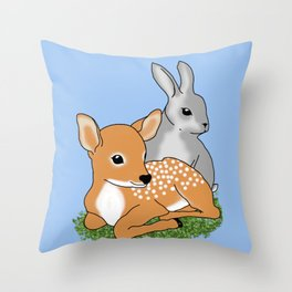 Spring Babies Fawn and Rabbit by Orikall Throw Pillow