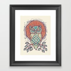 Owl on branch Framed Art Print