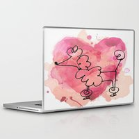 poodle Laptop & iPad Skins featuring Pink Poodle by Vintage Fox