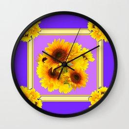 DECORATIVE YELLOW SUNFLOWERS BOUQUET PANTENE PURPLE ART Wall Clock