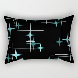 Mid Century Modern Stars Black Teal Rectangular Pillow