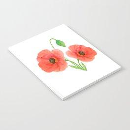 Springtime Red Orange Poppies Watercolors Notebook