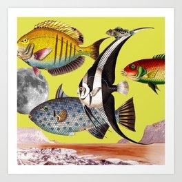 Fish World yellow Art Print