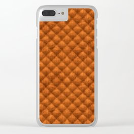 Quilted Pumpkin Orange Faux Suede Clear iPhone Case
