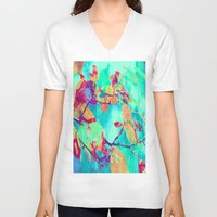 surrealism V-neck T-shirts featuring Autumn fantasy surrealism leaves by Die Farbenfluesterin