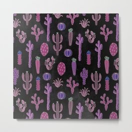 Cactus Pattern On Chalkboard Metal Print