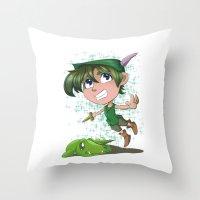 peter pan Throw Pillows featuring Peter Pan by EY Cartoons