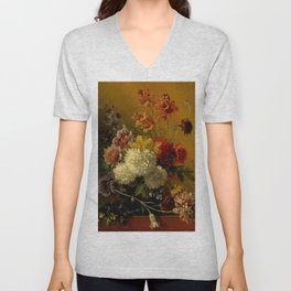 "George Jacobus Johannes van Os ""Still Life with Flowers"" Unisex V-Neck"