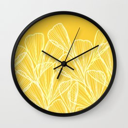 Golden Yellow Flora Wall Clock
