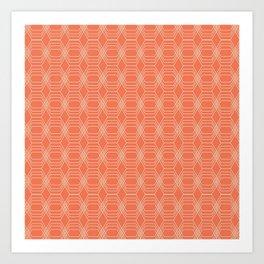 hopscotch-hex tangerine Art Print