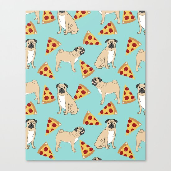 Pug Pizza Party cute pug dog owner gifts food pet gifts puggle puppy dog pet portrait trendy  Canvas Print