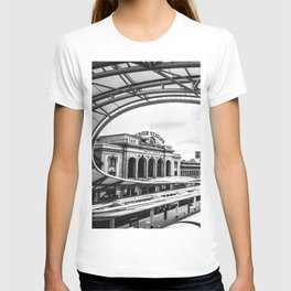 Union Station // Train Travel Downtown Denver Colorado Black and White City Photography T-shirt
