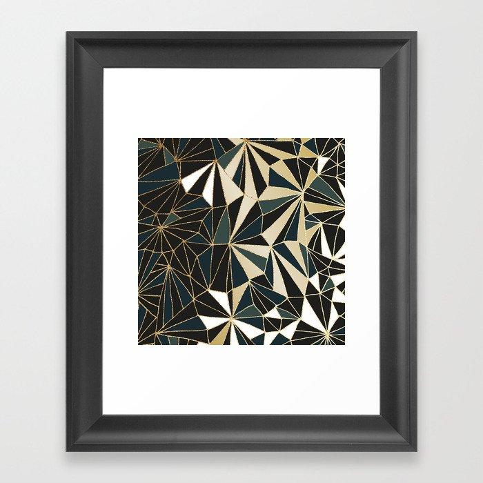 New Art Deco Geometric Pattern Emerald Green And Gold Framed Art