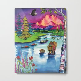 Watercolor painting, art print, alaska painting, mountain art, bear artwork, colorful Metal Print