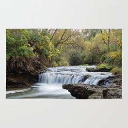 Briggs Woods Lower Waterfall in Autumn Rug