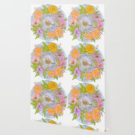 Spring Chickadee in Flowery Woodland Wreath Wallpaper