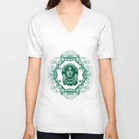 haunted mansion V-neck T-shirts featuring Haunted Mansion - In Regions Beyond Now by Joel Dickinson