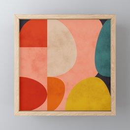 geometry shape mid century organic blush curry teal Framed Mini Art Print