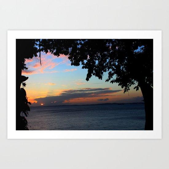 SUNSET BETWEEN TREES. Art Print