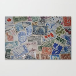 Canadian Pride Vintage Postage Stamp Collection From Canada Canvas Print