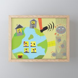 Stay home fight the pandemic Framed Mini Art Print