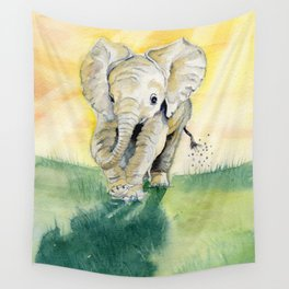 Colorful Baby Elephant Wall Tapestry