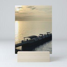 """Painesville Township Pier Sunset"" Photography by Willowcatdesigns Mini Art Print"