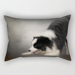 Ready to Play - Border Collie Rectangular Pillow