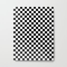 White and Black Checkerboard Metal Print