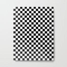 White and Black Checkerboard Metal Print