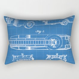 Fire Truck Patent - Aerial Fireman Truck Art - Blueprint Rectangular Pillow