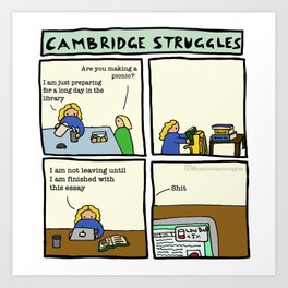 Cambridge struggles: Library Art Print