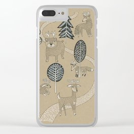 Woodland Creatures Clear iPhone Case