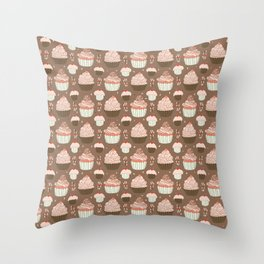 Elegant Cupcakes Food Vector Pattern Seamless Throw Pillow
