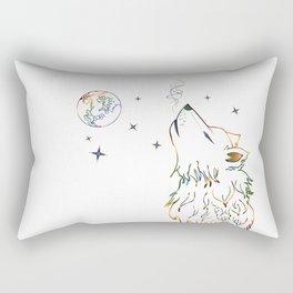 Wolf howling on moon sketch Rectangular Pillow