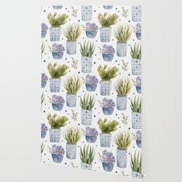 cactus in patterned pots pattern Wallpaper