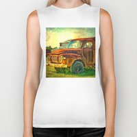 truck Biker Tanks featuring Old Rusty Bedford Truck by Wendy Townrow