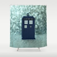 dr who Shower Curtains featuring Dr. Who Police Box by Nature In Art...