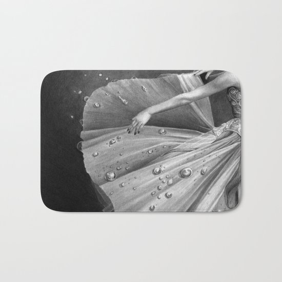 White Morning - graphite pencil drawing Bath Mat