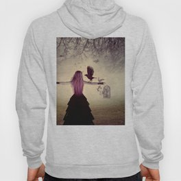 Dark foggy scene with witch woman with crows Hoody