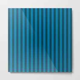 Cerulean Blue Stripes Pattern Metal Print