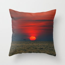 SUNSET AT SILVER BEACH Throw Pillow