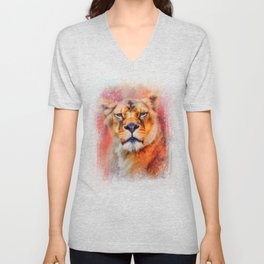 Colorful Expressions Lioness Unisex V-Neck