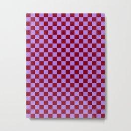 Lavender Violet and Burgundy Red Checkerboard Metal Print