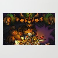 gengar Area & Throw Rugs featuring A treasure for Halloween by Domadraghi