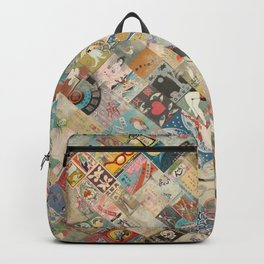 Vintage Japanese matchbox collage Backpack